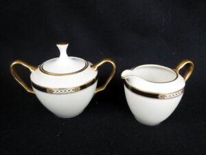 Lenox Hancock Presidential Collection Sugar/Creamer Cream Black Band Gold Trim