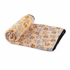 Puppy Dog Fleece Blanket Pet Mat Bed Blanket Throw with Paw Print for Lap Sofa