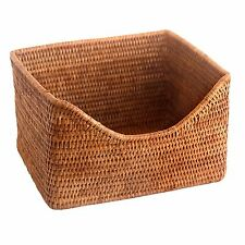 Top Quality Oblong Fine Wicker Rattan Storage Display Basket with Shaped Front