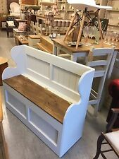 A Shabby Chic Monks Bench,Pew,Seat,Chair,Vintage, Furniture Showroom Whitstable