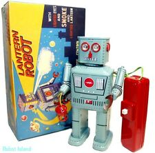 Lantern Robot Tin Toy Smoking Battery Operated Remote Action!