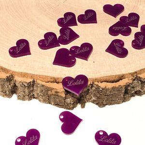Birthday Decorations Personalised 25mm Purple Acrylic Hearts Vintage shabby chic