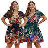 Plus Size Floral Print Boho Dress Summer Women Short Sleeve V Neck Mini Dresses