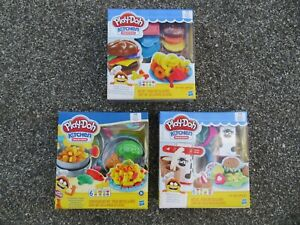 (3) Play-Doh Kitchen Creations Set Burger Fries, Silly Noodles & Milk 'N Cookies