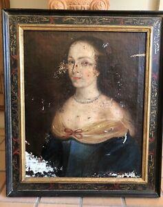 Tableau ancien portrait, 17ème siècle, à restaurer