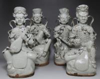 "10"" Rare China White Porcelain Myth Four Heavenly Kings God immortal Statue Set"