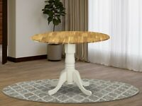 """42"""" Round Dublin drop-leaf pedestal kitchen table in natural and linen white"""