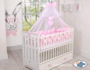 4 Tlg.Baby Moskitonetz Baldachin Mückennetz Betthimmel Herzchen mit Himmelstange