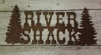 Rusted Metal River Shack with Pine Trees/Cabin decor/Fishing/Hunting/Home decor