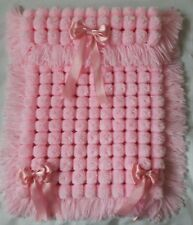 PINK  POM POM TURNOVER BABY GIRL BLANKET, LONG TASSELS AND 3 REMOVABLE BOWS