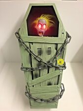 """Halloween Motion Activated Animated Coffin  """"Ghoul Rising"""" Zombie Decoration"""