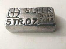 SUPER RARE 1960's M&B Mining Poured 5 Oz Silver Bar w/one line logo variant.