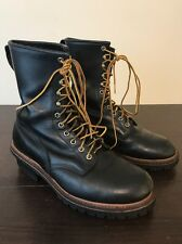 RED WING 699 WILDLAND FIRE FIGHTING LOGGER BOOTS BLACK LEATHER SIZE 10.5 E WIDE
