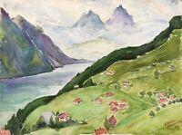Acquerello Impressionista Panorama Montano Am Vierwaldstätter Lago Svizzera