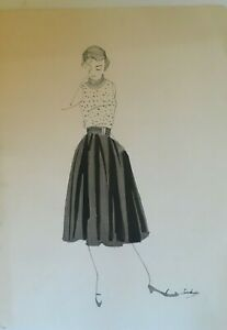 Mid-Century 1950's Pen, Ink, Wash Fashion Illustration Original & Signed
