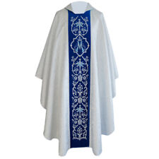 CHASUBLE White silver MARIAN Gothic Chasuble, vestment, embroidered on velvet