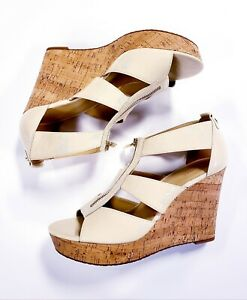 Michael Kors Damita Wedge Sandal Ecru Patent Cork Platform Shoes Size 10