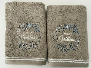 Merry Christmas 100% Cotton Hand Towels in Grey 40cm x 70cm