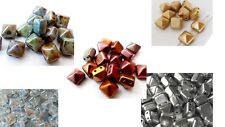 8(mm) TWO HOLE CZECH TILE BRICK GLASS SQUARE PYRAMID SPACER BEADS - (10PCS)