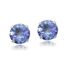 1 00ct Tgw Tanzanite Round 14k White Gold Stud Earrings