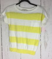 Ann Taylor LOFT  Short Sleeve Striped Thin Sweater Shirt Size Small Petite
