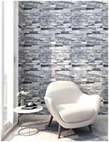 3D Peel and Stick Faux Brick Stone Wallpaper Gray Vinyl Self Adhesive Paper
