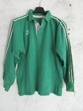 Maillot rugby ADIDAS vintage pur coton shirt vert années 70 80 Trefoil L