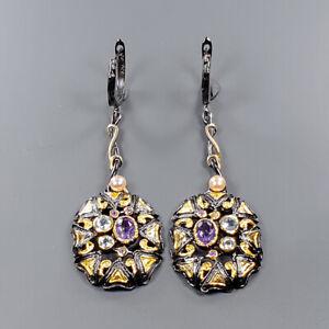 Jewelry Unique SET Amethyst Earrings Silver 925 Sterling   /E47095