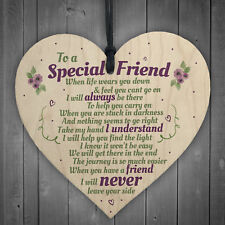 Special Friend Friendship Plaque Shabby Chic Wood Heart Thank You Birthday Gifts