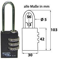 1X Security Plus ZL30  Vorhängeschloss Zahlenschloss 3 Zahlen Extra Langer Bügel