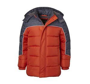 iXtreme Boys' Winter Puffer Jacket, Orange/Dark Gray (Size 7)