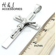 """Jesus Cross Pendant*J1-Size 3""""x1.8"""" (Oversize) Men 316 L Stainless Steel Silver"""