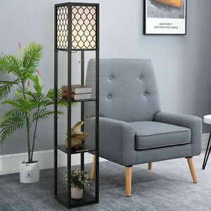 Modern Shelf Floor Lamp Light with 4-tier Open Shelves Wooden Pattern Lamp Shade