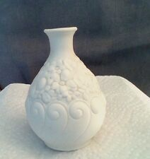 Boehm White Parian Embossed Bud Vase, Bone Porcelain 1950's  Bisque