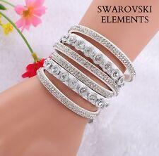 Bracelet gourmette cuir 3 RANGEES rivets  Swarovski® Elements ajustable blanc