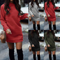 Womens Plain Sweater Jumper Mini Dress Long Sleeve Pullover Sweatshirt Soft Tops
