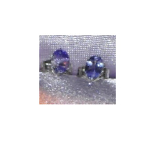 ONE PAIR 6mm x 4mm  OVAL SHAPE  TANZANITE  STUDS STERLING SILVER