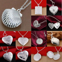 925 Silver Filled Locket Hollow Heart Book Photo Pendant Chain Necklace Gift