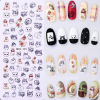 Nail Art Water Transfer Decal Manicure Sticker Lovely Cat Design Tips Tattoo