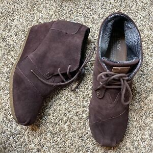 Toms Size 10 Brown Suede Desert Wedge Lace up  Booties