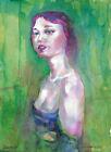 original painting 30 x 41 cm 49PsI art samovar modern Watercolor female portrait