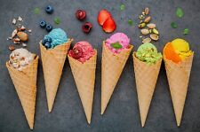 Ice Cream Fruit Cones Dessert Wall Art Large Photo Poster / Canvas Picture Print