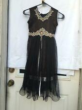 Indian Pakistan Girls  Long Dress Style Black  Net Frock Color Party Wear .