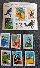 6 timbres français Tintin et ses amis + mini-bloc Tintin non oblitérés