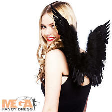 Nero in piuma con Scuro ALI D'ANGELO Donna Costume Halloween Da Donna Costume Wings