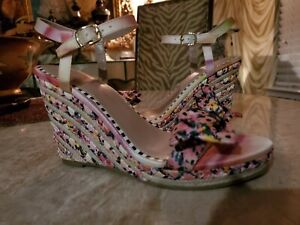 BETSY JOHNSON COLORFUL ANKLE STRAP BRAIDED STRAW WEDGE SHOES SIZE 10 NWOB