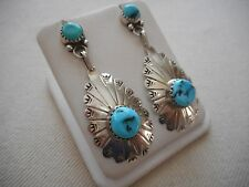 Vintage Southwest Sterling Silver Turquoise Nugget Dangle Earrings  264204