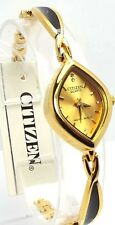 New Citizen Lady  Gold-tone, Champagne-Dial, 06 Genuine-Crystals Dress Watch