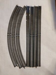 """Lot Tyco HO Track Double Length Long Steel 18"""" Straight Curved 7 pcs"""