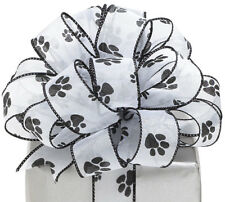 "NEW Paw Print 1-1/2"" W Shimmering Sheer Wired Edge Ribbon Black & White 20 yards"